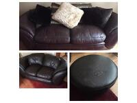 Stunning brown leather designer sofa suite 3&2 seater & footrest. Free delivery