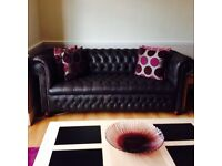 Brown premium leather chesterfield 2 &3 seater sofa suites