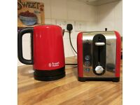 Red Kettle and Toaster in good condition