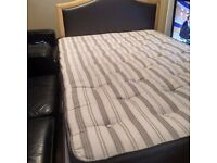 Double divan bed with headboard, 2 drawers and mattress