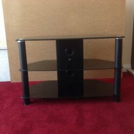 BLACK GLASS TELEVISION CORNER UNIT