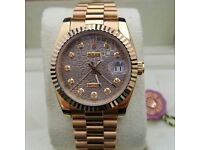 New Gold Rolex DateJust with Grey Rolex Design Face Comes Rolex Bagged And Boxed With Paperwork