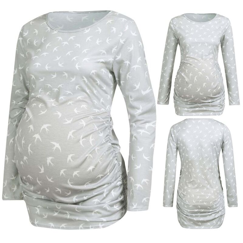 Women Pregnancy Casual Long Sleeve Swallow Print Tops T-shir