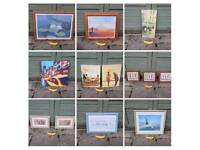13 Pictures in Wooden Frames and on Canvas