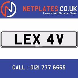 LEX 4V Registration Number Private Plate Cherished Number Car Registration Personalised Plate Lexie