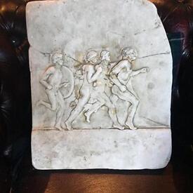 Vintage athletic running men stone plaque / picture / art