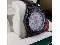 New mens bagged & boxed all black whitr pearl face with diamonds rolex daytona