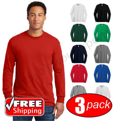 3-PACK Gildan 5400 Heavy Cotton Long Sleeve T Shirt Mens Blank Casual Plain Tee