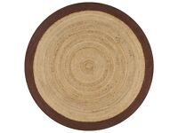 Handmade Rug Jute with Brown Border 120 cm-133684