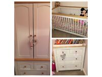 Izziwotnot Nursery Furniture - EXCELLENT CONDITION. Cot, wardrobe & drawers/changing station