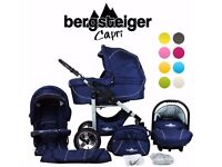Pram set made by Bergsteiger, Germany in Blue