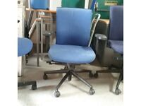 Konig +Neurath blue fabric operator chair with soft armrests