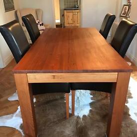 Solid Cherry Wood table and 4 leather chairs (House of Fraser)