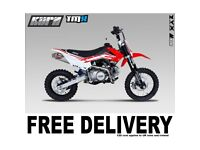 KURZ TMX 125cc Off Road Pit Bike 74cm Seat Height Pitbike, Not Road Legal, FREE UK MAINLAND DELIVERY