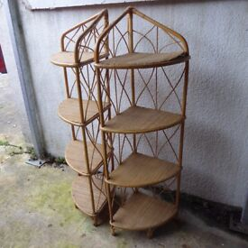 Pair Of retro 1960's Vintage Rattan/Bamboo/Cane tall corner display shelves