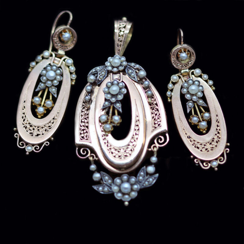 Antique Victorian Earrings Pendant Brooch Set 18k Gold Pearls French (5623)