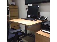 Office desk & 3 drawer unit oak effect
