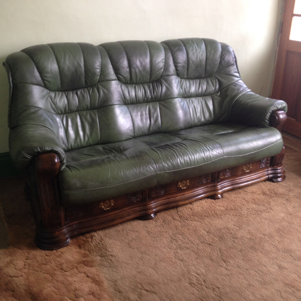 Green Leather Sofa And Armchair On Wooden Frame With Drawers