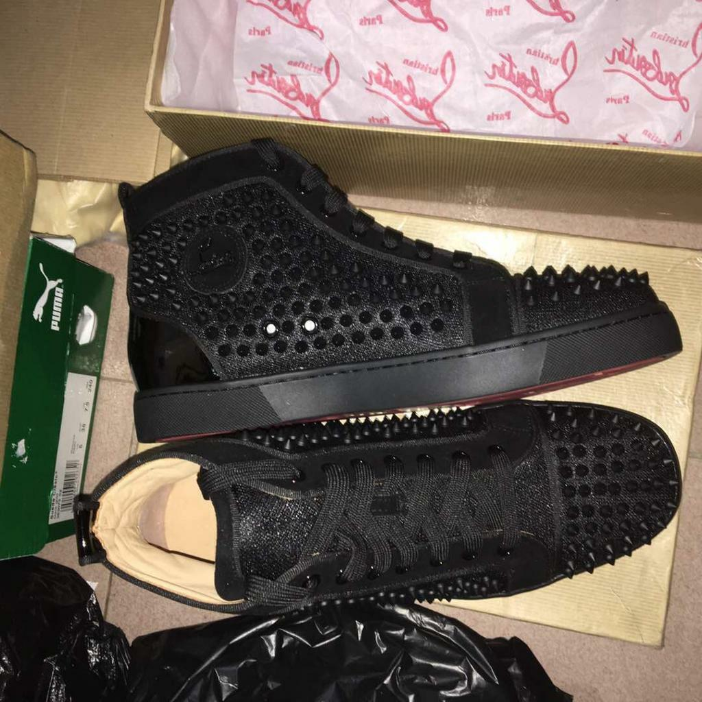 9458cf0eee8 Christian Louboutin Black Moire Spiked High Top Red Bottom Sneakers