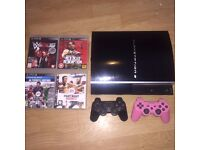 PlayStation PS3 60GB Black + 2 controllers + 5 games WWE 2K16 Fifa Red Dead. Can collect today!