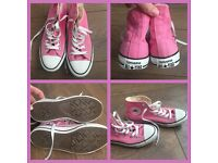 Pink hightop converse trainers woman's/teens