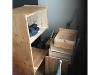 Hand built pine desk and two chairs