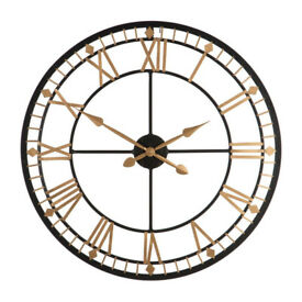 Wall Mounted Black & Gold Traditional Clock