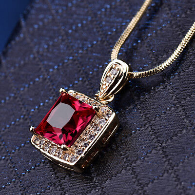 Square Princess Ruby Crystal Rhinestone Gold Filled Lady Necklace Pendant Choker