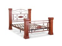 QUALITY,SOLID, DARK WOODEN, OMEGA BED BED, DOUBLE, 4.6, BEDSIDE TABLE OPTION, MEMORY FOAM MATTRESS,