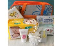 Colourful baby changing bag gift set