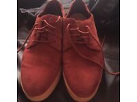 Clark's red suede shoes