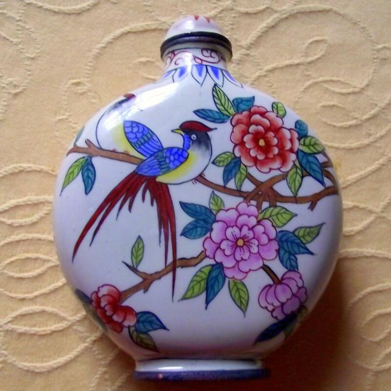Vintage Qianlong Signed Chinese Oriental Snuff Perfume Bottle Enamel on Copper B