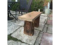 handmade wooden and stone garden bench / seat