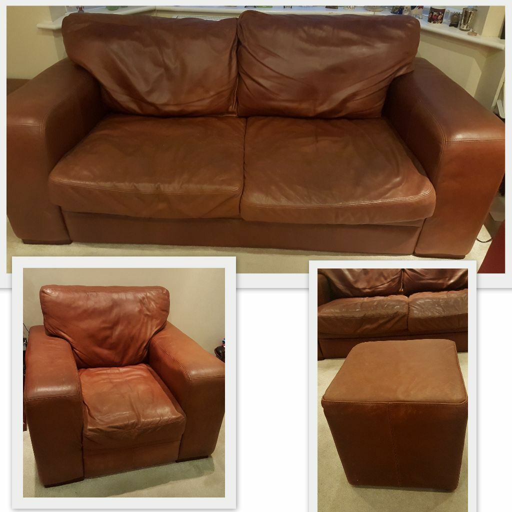 Halo Aniline Leather Sofa (3 + 1 Seater + Matching Footstool)