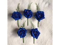 Wedding button holes royal blue