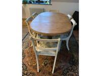 Pine dining table and 6 chairs inc 2 carvers with reupholstered seats, painted shabby chic style