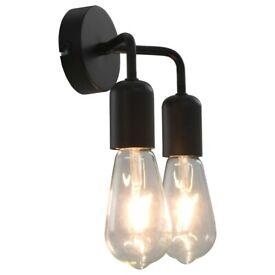 Wall Light with Filament Bulbs 2 W Black E27-281419
