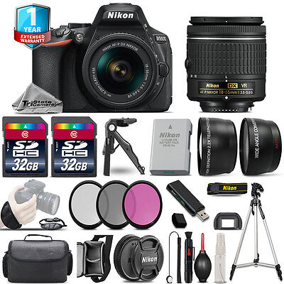 Nikon D5600 DSLR Camera + 18-55mm VR - 3 Lens Kit + 1yr Warranty - 64GB Bundle