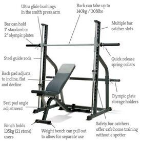smith machine with weight bench still new