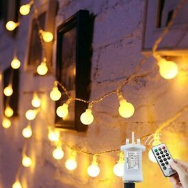 Globe String Lights Waterproof,15M,120 LED Plug in Powered, 8 Modes Outdoor/Indoor ( Warm White)