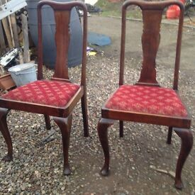 Set 4 high back antique dinning chairs