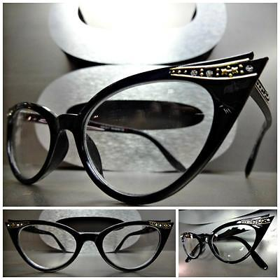 New CLASSIC VINTAGE 60s CAT EYE Style Clear Lens EYE GLASSES Black Fashion (Classic Frames)
