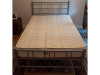 3/4 sized Ikea Silver metal frame bed with mattress
