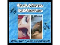 Classic and Russian lash extensions