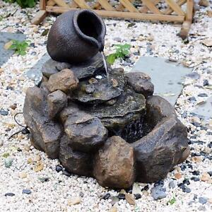 Outdoor Patio Rock Water Fountain Cascading Garden Décor with LED Light