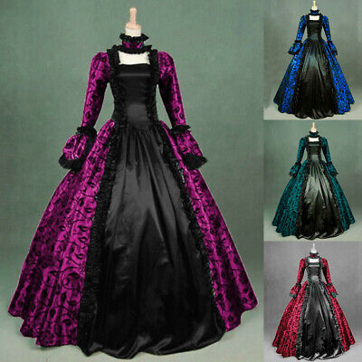 Women Fall Vintage Medieval Gothic Retro Floral Print Prom Ball Gown Long Dress