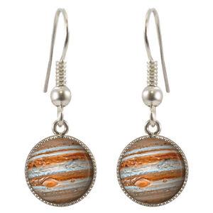 Planet-Jupiter-Placcato-Argento-Orecchini-Pendenti-Con-Scatola