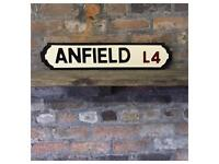 Hand carved, hand painted, ANFIELD street sign, new