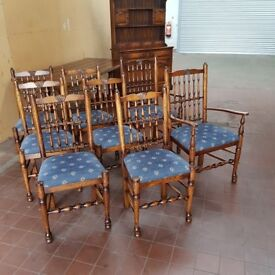 SOLID OAK SET OF 8 SPINDLE BACK COUNTRY FARMHOUSE DINNING/KITCHEN CHAIRS BY BRIGHTS OF NETTLEBED