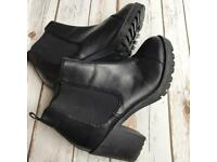 OFFICE BLACK LEATHER CHELSEA BOOTS STYLE RETRO 90's SIZE 6 VINTAGE WOMENS